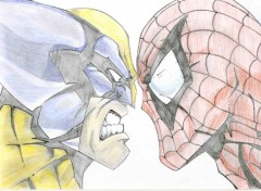 Fonds d'écran Art - Crayon Wolverine VS Spiderman !!!