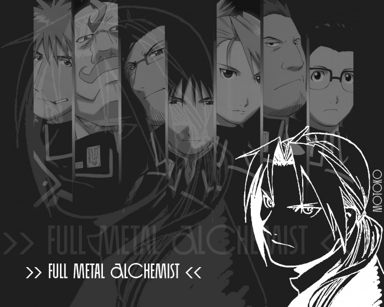 Fonds d'écran Manga Full Metal Alchemist FMA noir&blanc