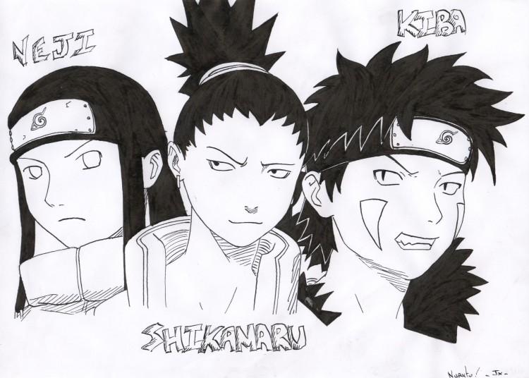 Wallpapers Art - Pencil Manga - Naruto Neji, Shikamaru & Kiba