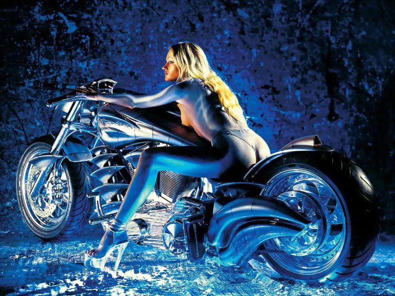 Fonds d'écran Motos Filles et motos
