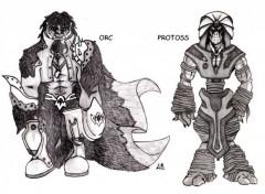 Fonds d'écran Art - Crayon orc et protoss