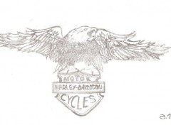 Fonds d'écran Art - Crayon Aigle Harley-Davidson