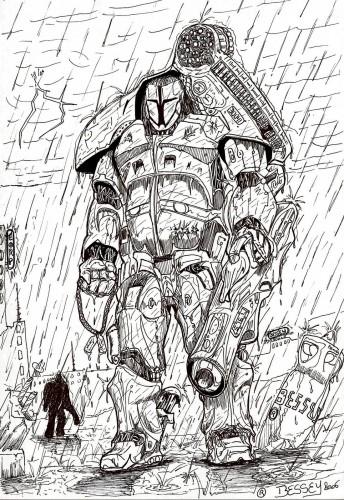 Wallpapers Art - Pencil Fantasy - Warriors Meca-guerrier