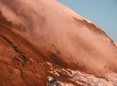 Fonds d'écran Nature Avalanche de pierres et de neige.