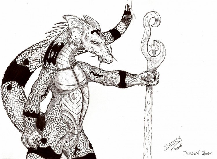Wallpapers Art - Pencil Fantasy - Dragons Dragon mage