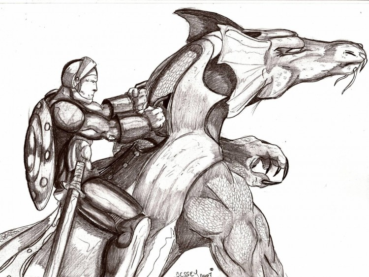 Wallpapers Art - Pencil Fantasy - Knights Belle monture.