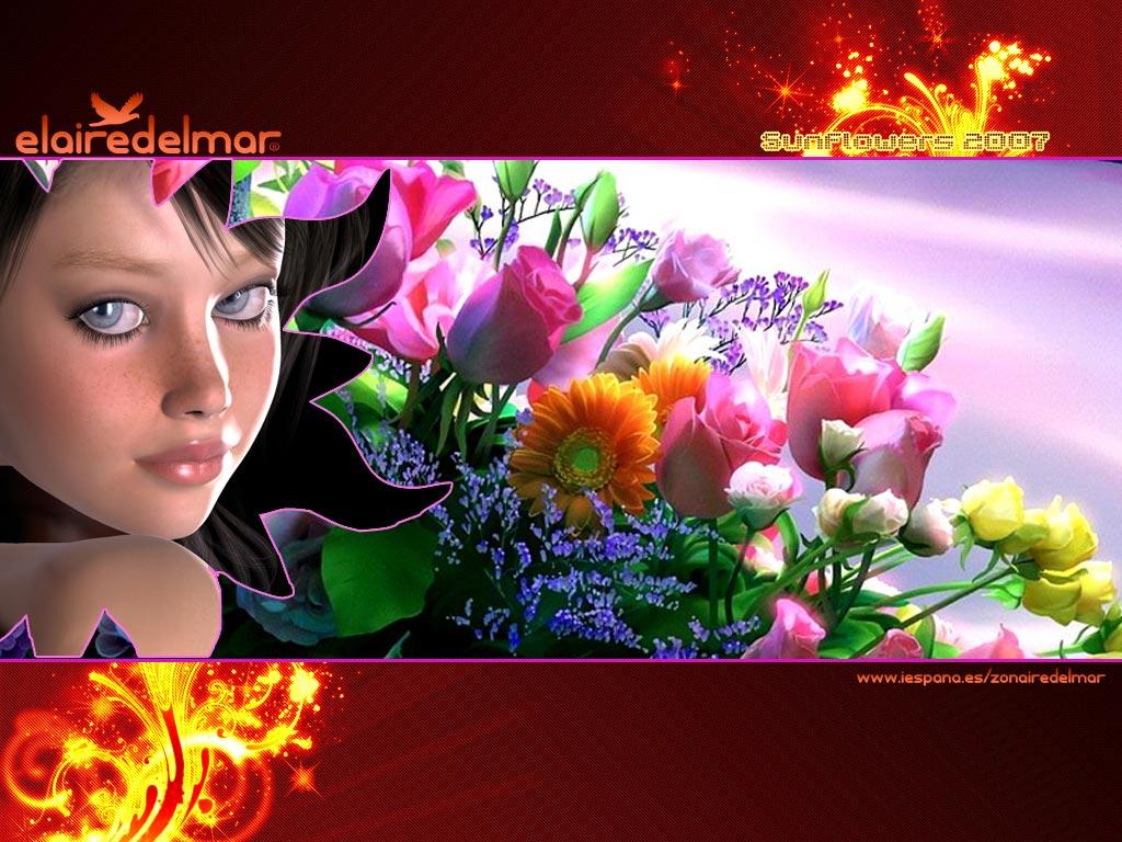 Fonds d'écran Art - Numérique Personnages Sun Flowers