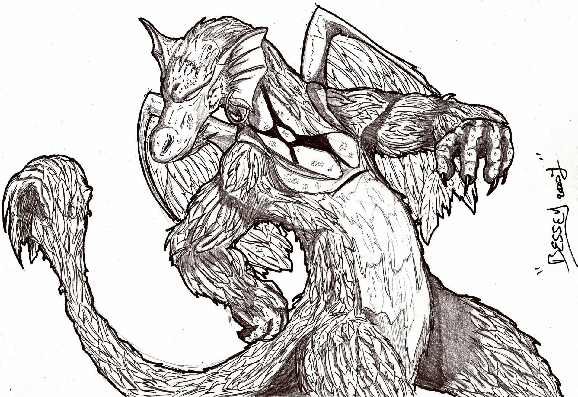 Fonds d'écran Art - Crayon Fantasy - Dragons Dragons a plumes.