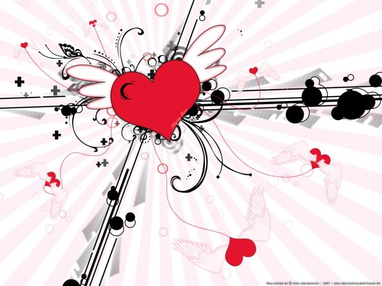 Fonds d'écran Art - Numérique Amour, amitié Flying Love