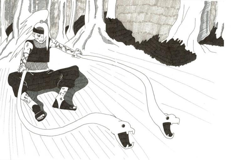 Wallpapers Art - Pencil Manga - Naruto Deidara Vs Sasuke