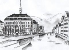 Fonds d'écran Art - Crayon Hotel de ville de Hambourg
