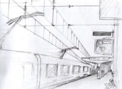 Fonds d'écran Art - Crayon La gare de Perrache