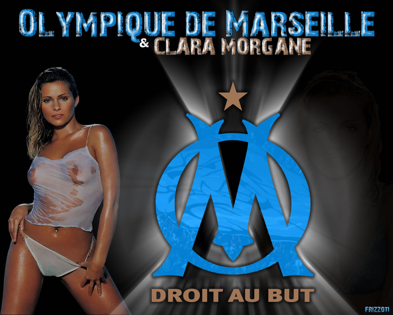 Fonds d'écran Sports - Loisirs OM Olympique de Marseille et Clara Morgane