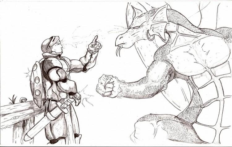 Fonds d'écran Art - Crayon Fantasy - Dragons Mésentente.