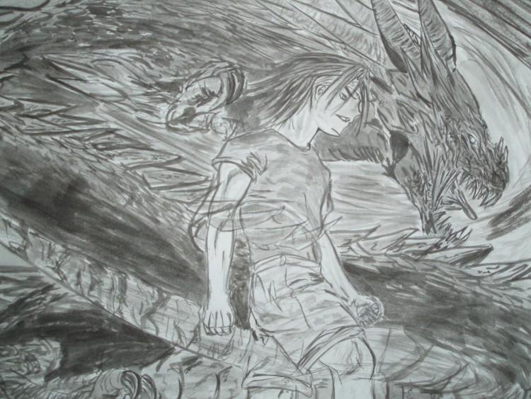 Fonds d'écran Art - Peinture Manga enfer et paradis dragon