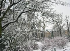Wallpapers Constructions and architecture la neige qui recouvre l'église saint ouen et les jardins de l'hotel de ville de rouen