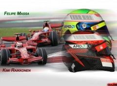 Fonds d'écran Sports - Loisirs Kimi Raikkonen & Felipe Massa 2008