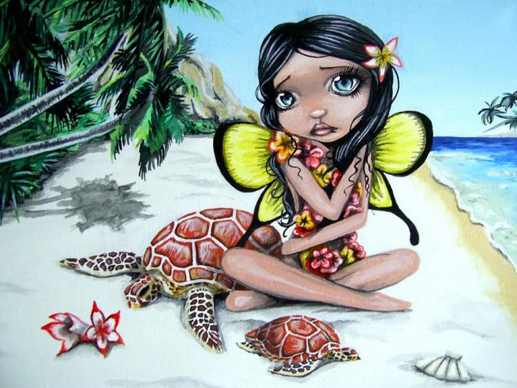Fonds d'écran Art - Crayon Fantasy - Fées Akahi - Fee Hawaienne