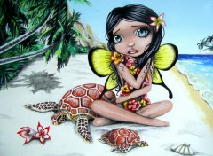 Fonds d'écran Art - Crayon Akahi - Fee Hawaienne