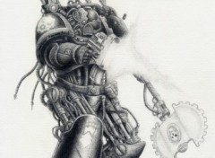 Fonds d'écran Art - Crayon Techmarine Iron Hands (fini)