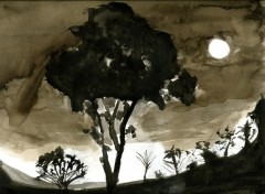 Wallpapers Art - Painting Arbre au clair de lune