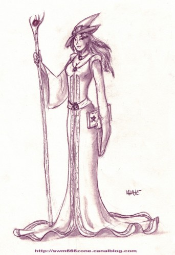 Fonds d'écran Art - Crayon Fantasy - Magiciennes Magicienne