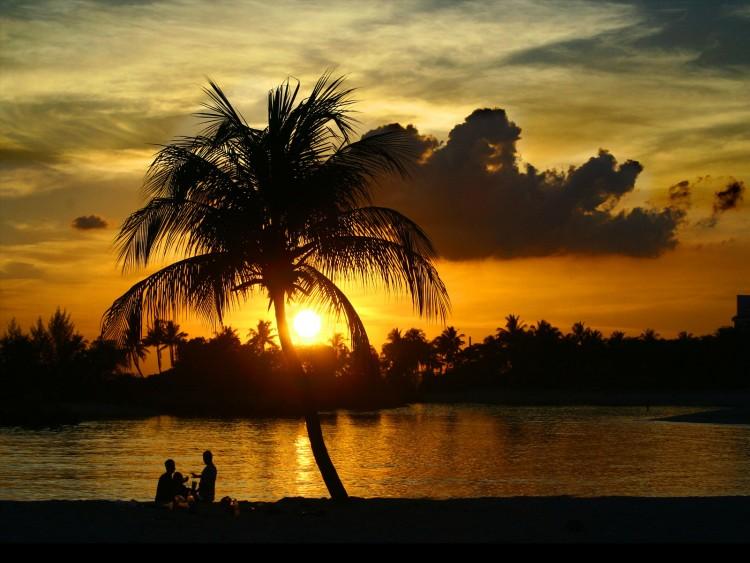 Wallpapers Trips : Oceania Tahiti Coucher de soleil en Océanie