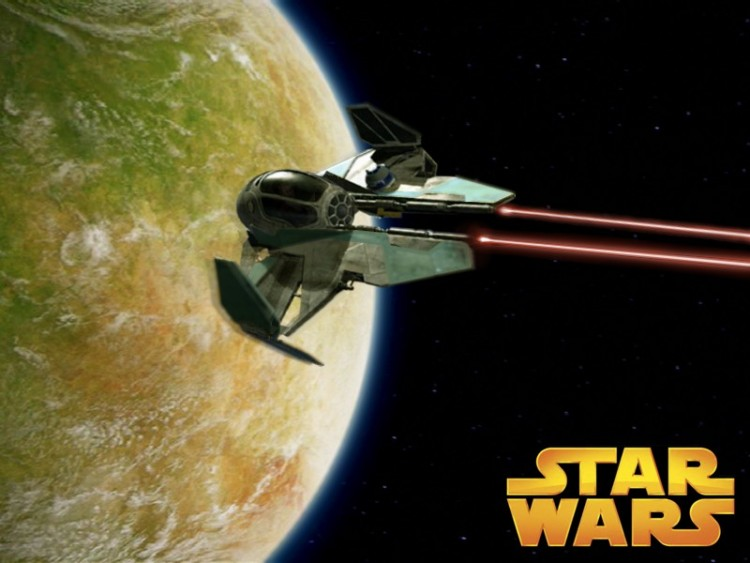 Fonds d'écran Cinéma Star Wars Jedi Starfighter vert
