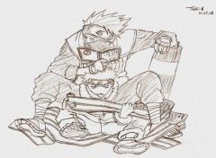 Fonds d'écran Art - Crayon Kakashi & Naruto