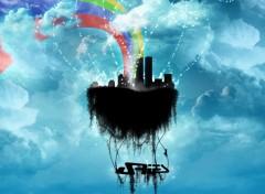 Fonds d'écran Art - Numérique ville dans les nuages