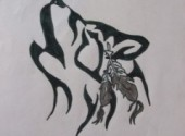 Wallpapers Art - Pencil Loup tribal