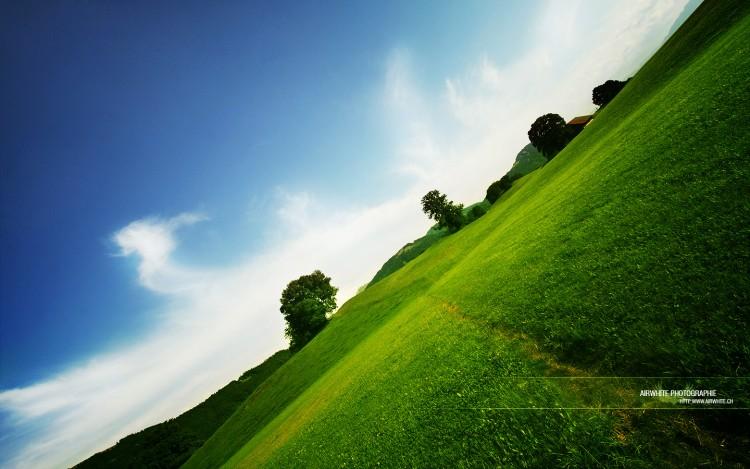 Fonds d'écran Nature Campagne Vert et bleu