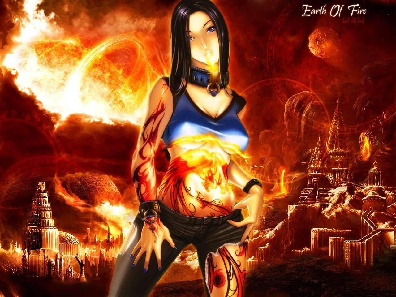 Wallpapers Fantasy and Science Fiction Magicians - Witches Earth Of Fire