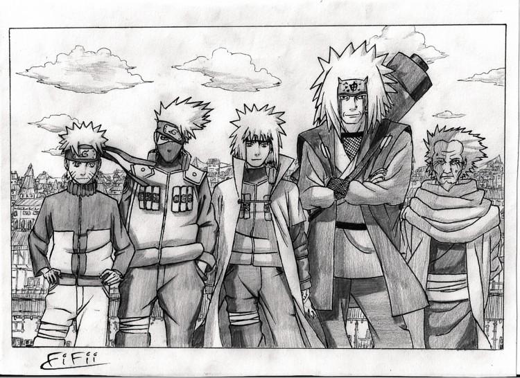 Wallpapers Art - Pencil Manga - Naruto Maitres et éléves