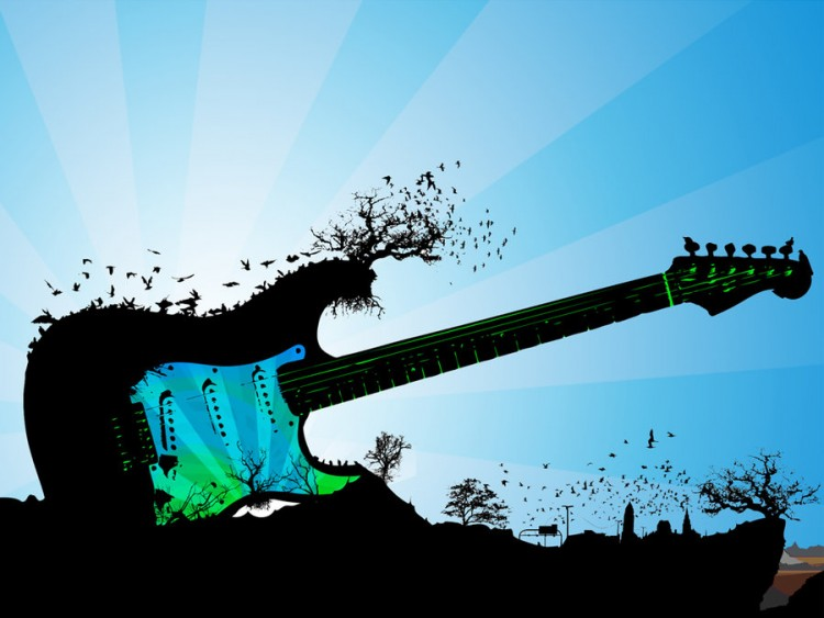 Fonds d'écran Musique Instruments - Guitares île - Guitare