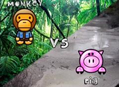 Wallpapers Humor Monkey vs. Pig