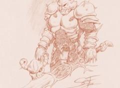 Fonds d'écran Art - Crayon guerrier en armure lourde