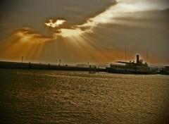 Fonds d'écran Nature Coucher de soleil sur le lac leman