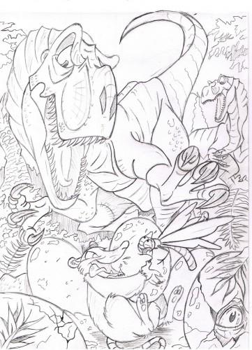 Fonds d'écran Art - Crayon Fantasy - Créatures jurassique flowpack