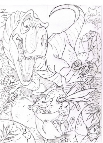 Wallpapers Art - Pencil Fantasy - Creatures jurassique flowpack
