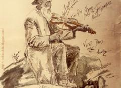 Fonds d'écran Art - Peinture Vieux Violoniste