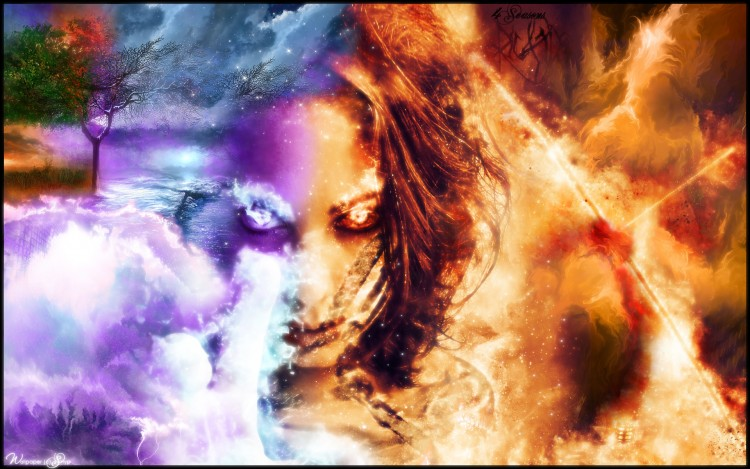 Wallpapers Digital Art Elements : air, water, fire, earth Four Seasons