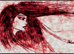 Wallpapers Art - Painting dessin femme portrait par moi rouge