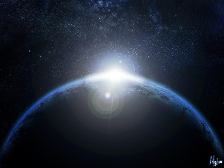 Wallpapers Digital Art Space - Universe Planet blue