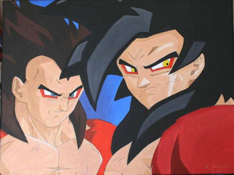 Fonds d'écran Art - Peinture Manga Vegeta et Sangoku super sayen 4