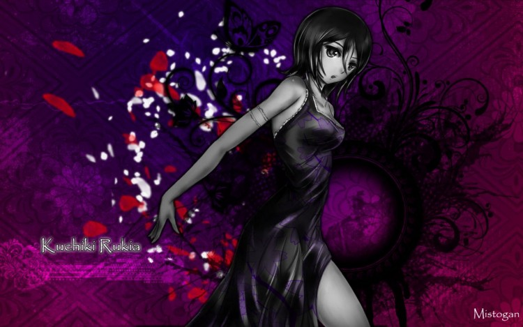Fonds d'écran Manga Bleach kuchiki rukia black & white
