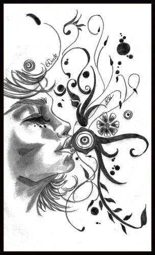 Wallpapers Art - Pencil Characters Baiser Fleurie