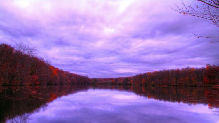 Fonds d'écran Nature Saisons - Automne automne étang couleurs nuages ciel lumière arbres