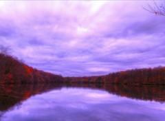 Fonds d'écran Nature automne étang couleurs nuages ciel lumière arbres