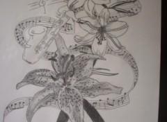 Fonds d'écran Art - Crayon partition fleuri